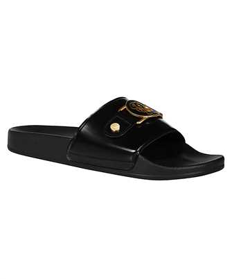 embellished logo slide sandals