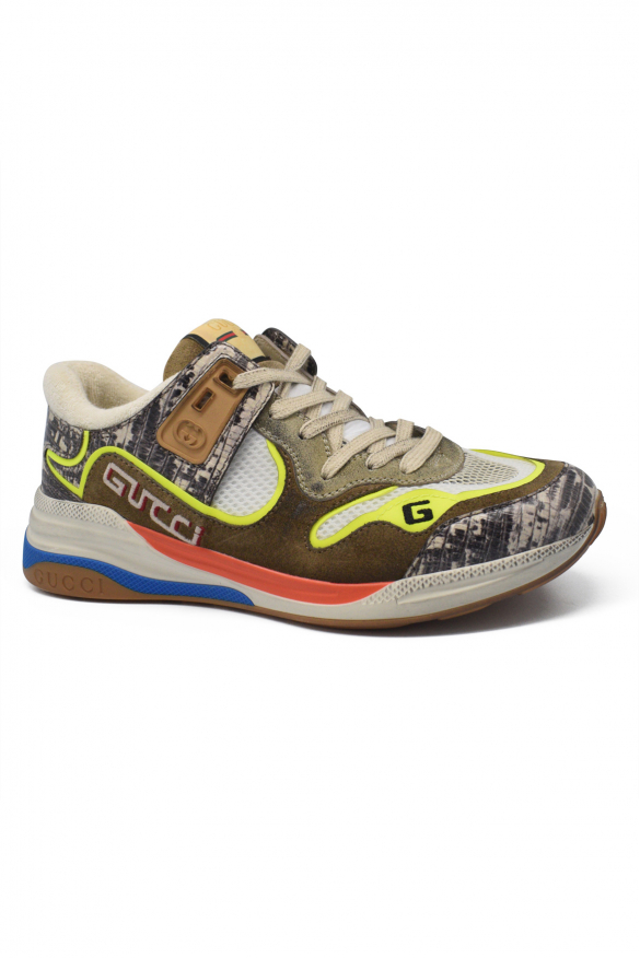 Men's luxury sneakers - Gucci sneakers model Ultrapace brown with animal print details