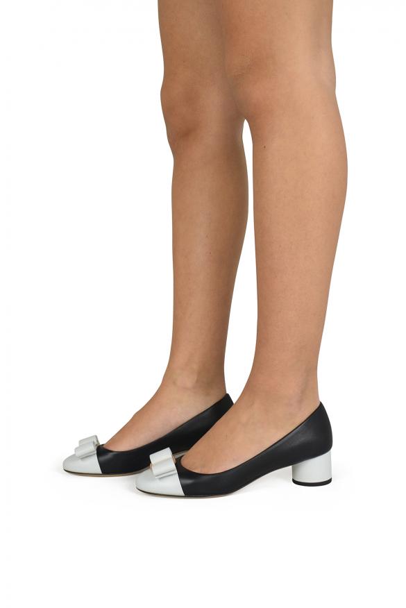 Women luxury shoes - Salvatore Ferragamo black and white Ivrea pumps