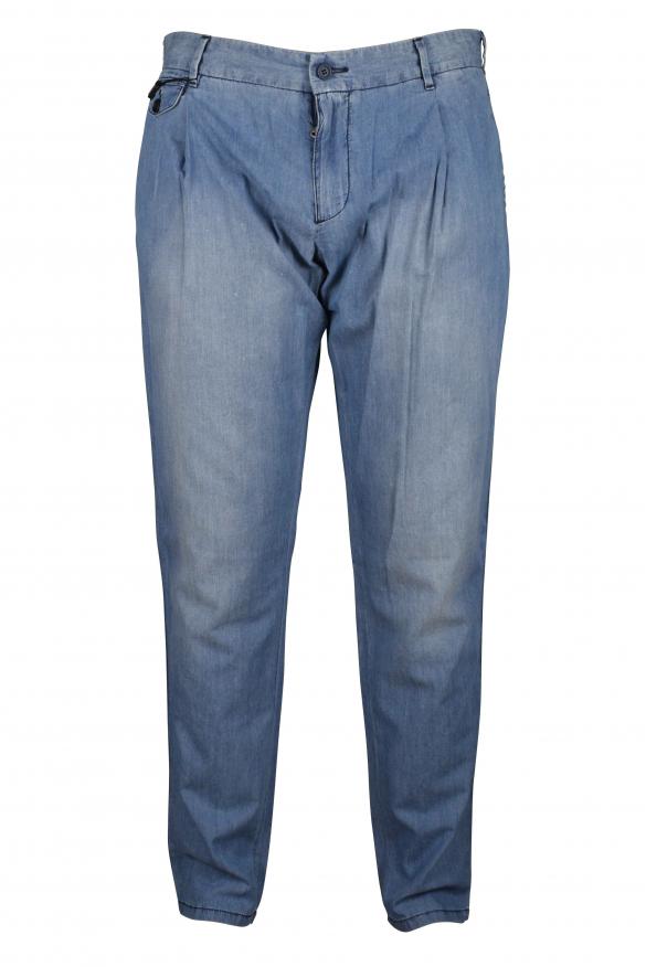 Luxury trousers for men - Dolce & Gabbana blue denim-effect trousers