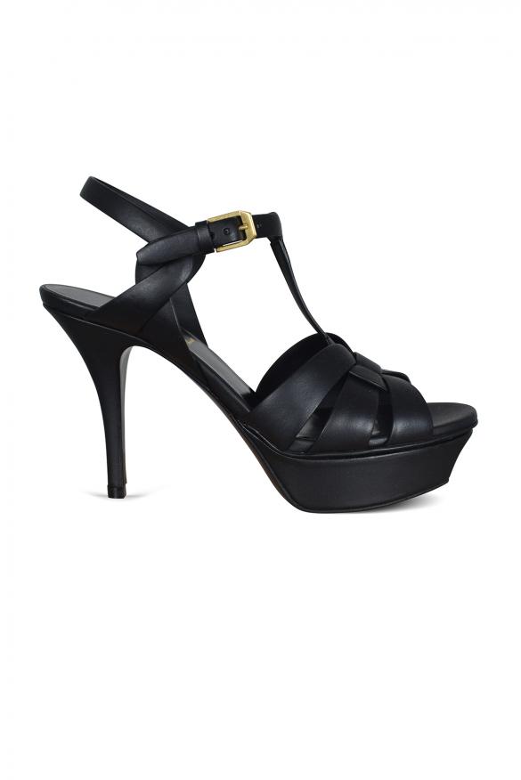 Women's luxury heeled sandals - Saint Laurent Tribute sandals in black leather