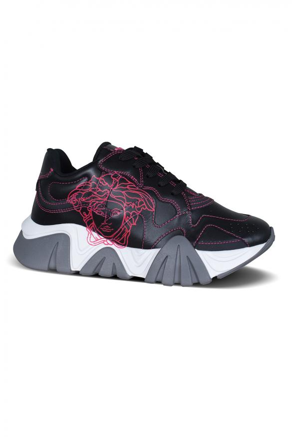 Women's luxury sneakers - Versace Squalo sneakers in black leather fuchsia details