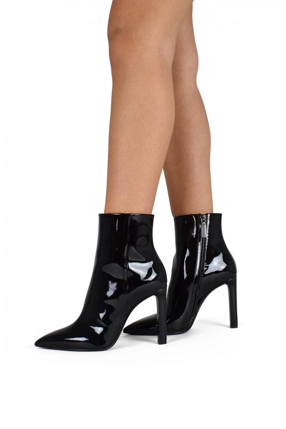 Luxury shoes for women - Saint Laurent Grace black patent ankle boots