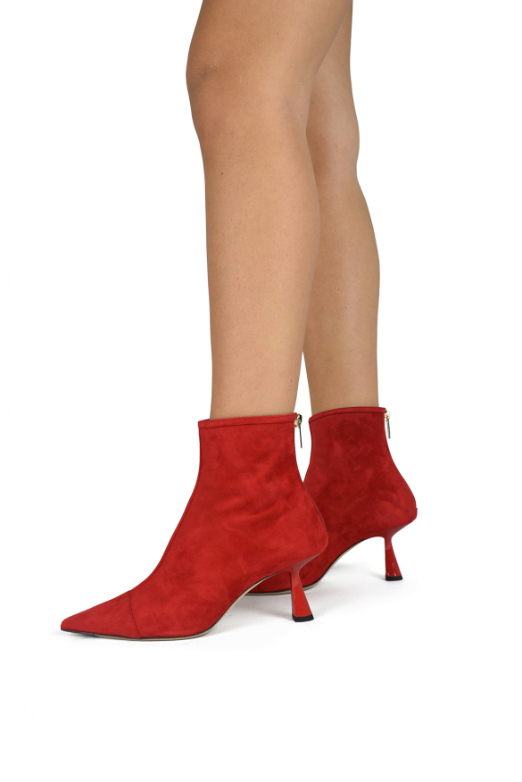 Luxury shoes for women - Jimmy Choo Kix 65 red suede ankle boot