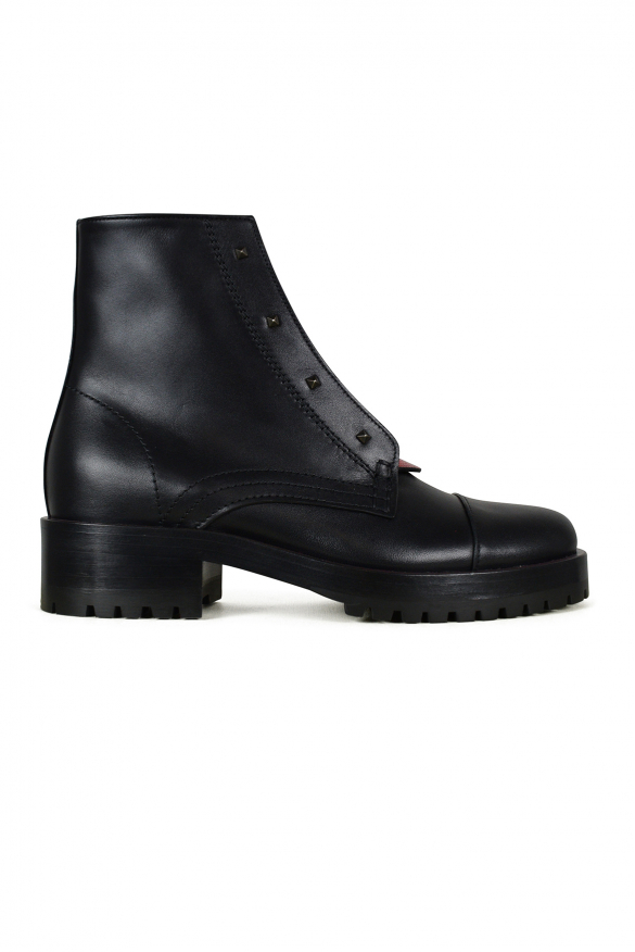 Luxury shoes for women - Valentino Combat boots in black leather