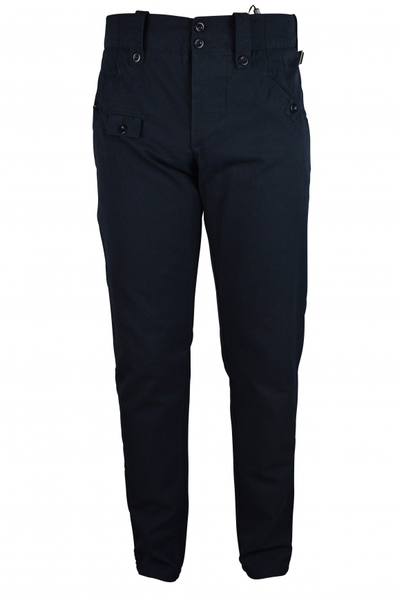 Luxury trousers for men - Dolce & Gabbana dark blue trousers with buttons