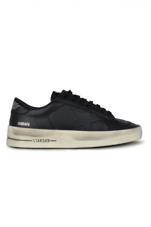 Men luxury sneakers - Golden Goose Stardan sneakers in black leather with star
