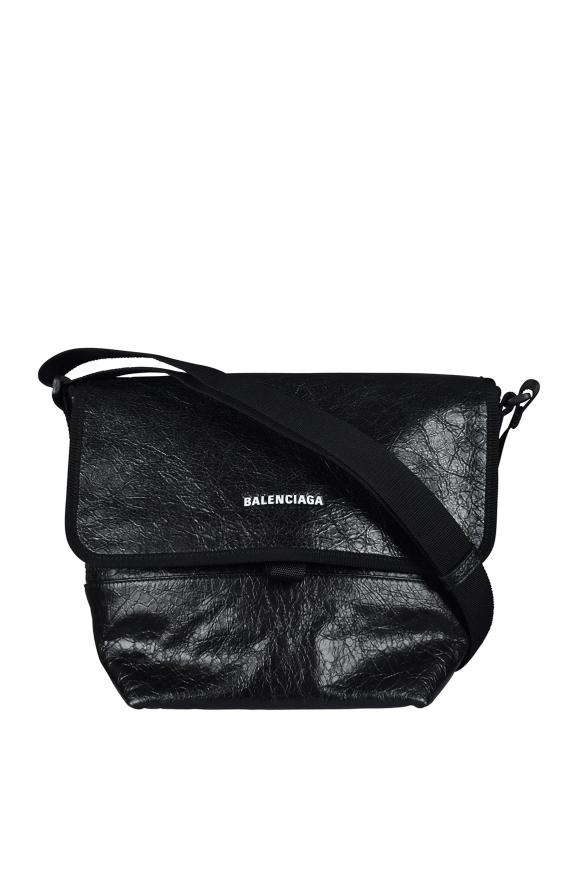 Luxury bag - Balenciaga Explorer bag in black crackled-effect leather