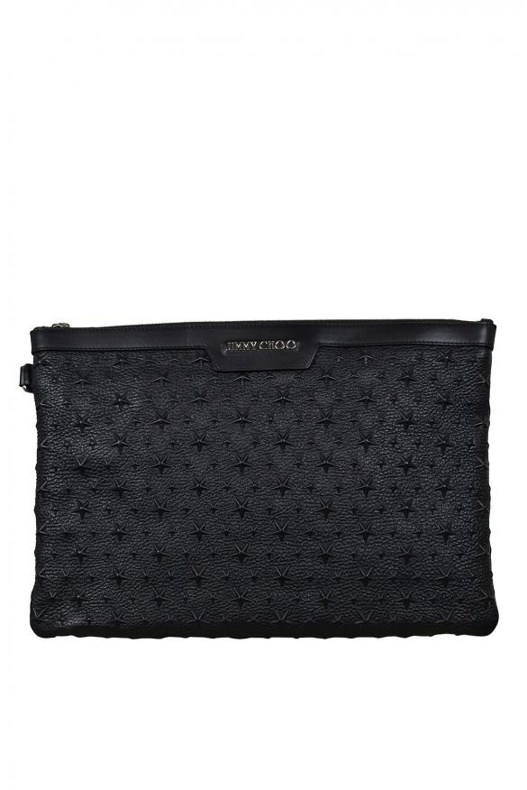 Luxury bags for men - Jimmy Choo Derek in black leather with black stars