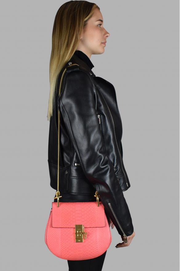 Luxury handbag - Chloé Drew dark pink python shoulder bag