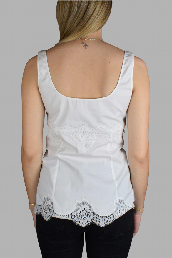 Women's luxury t-shirt - Dolce & Gabbana white top with lace details.