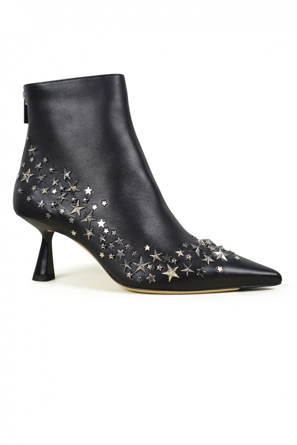 Luxury shoes for women - Jimmy Choo Kix 65 ankle boot in black leather and ornament stars