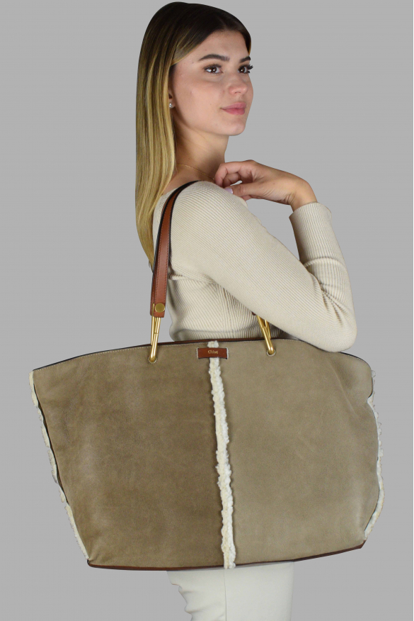 Luxury handbag - Chloé tote bag in brown sheep leather