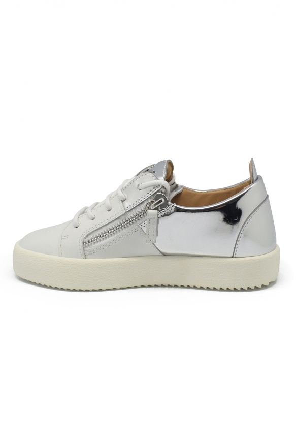 Luxury shoes for women - Giuseppe Zanotti Double white/silver sneakers