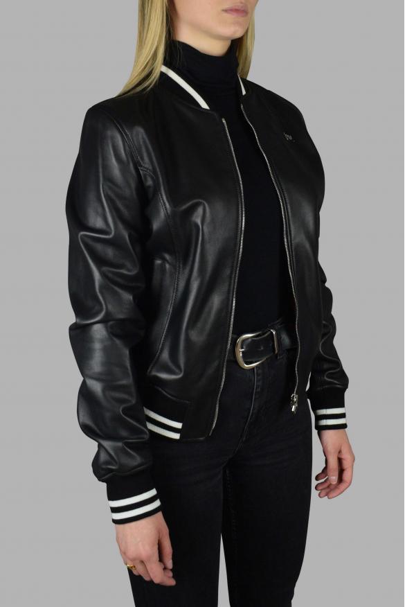 Men's luxury jacket - Philipp Plein bomber jacket in black leather with gray logo