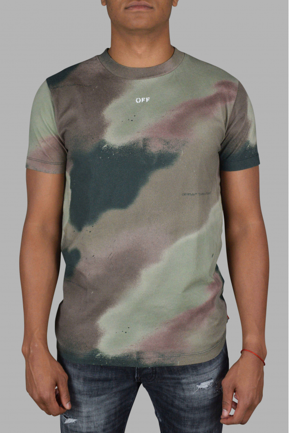 Luxury T-Shirt for Men - Off-White T-Shirt in green and brown camouflage