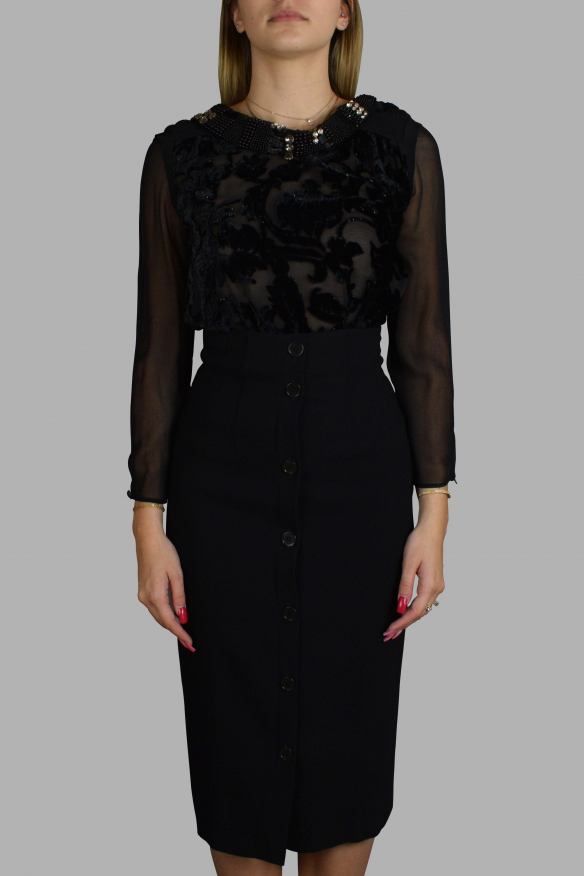 Luxury dress for women - Antonio Marras black dress with velvet effect and sequins
