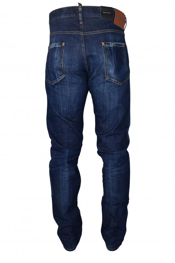Men's designer jeans - Dsquared2 blue faded Skater Jean with red logo