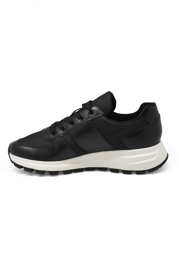 Luxury sneakers for men - Sneakers Prada in gabardine and leather with white sole