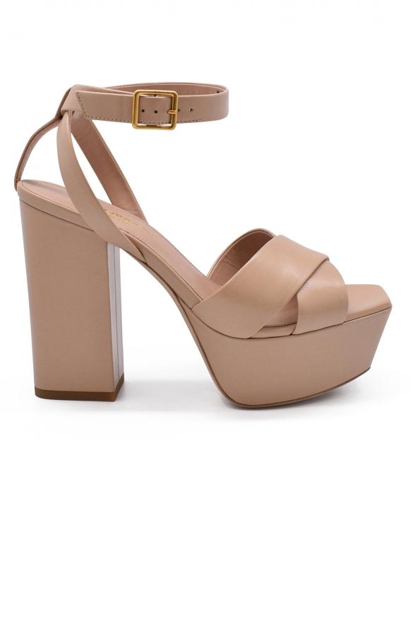 Luxury shoes for women - Saint Laurent platform sandals in nude leather