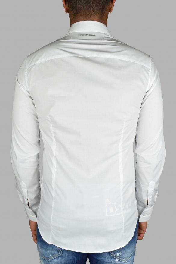 Men's luxury shirt - Philipp Plein white LS Skull shirt with buttons