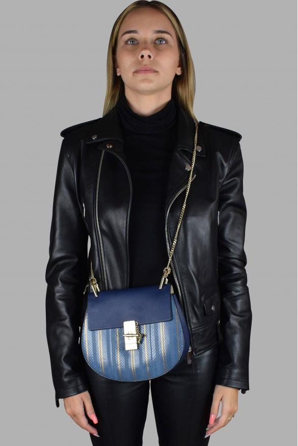 Luxury handbag - Drew Chloé shoulder bag in leather and blue python