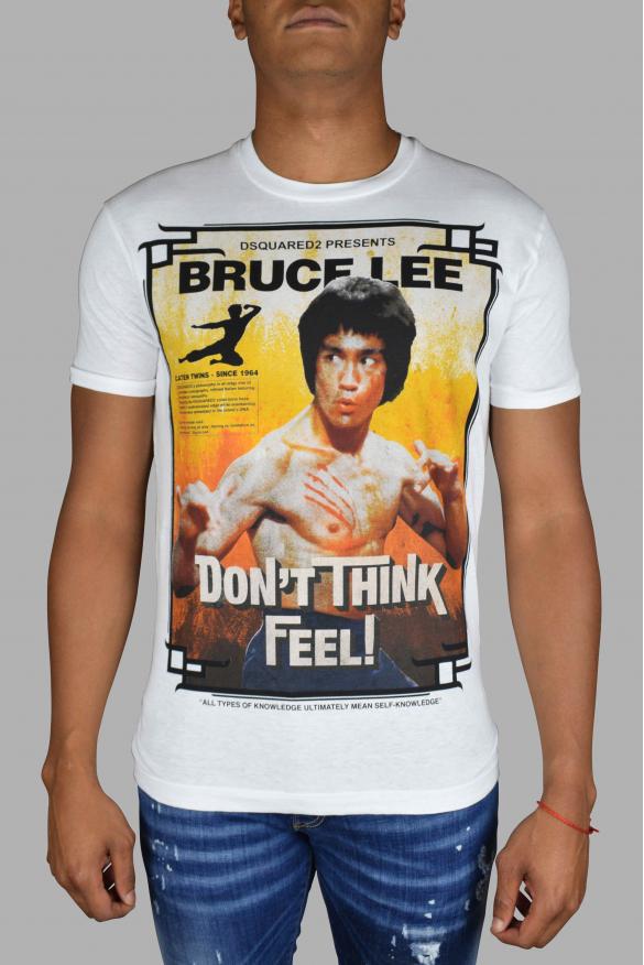Men's luxury T-Shirt - Bruce Lee White Dsquared2 T-Shirt  Don't think feel!