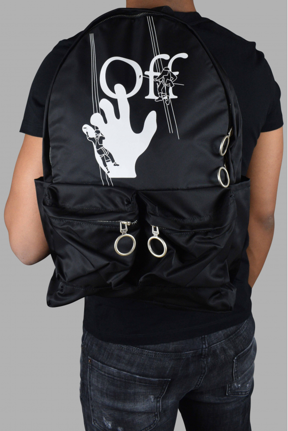 Luxury backpack - Black Off-White backpack with white logo on the front