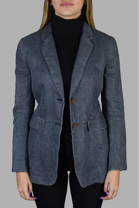 Women's luxury jacket - Prada navy blue linen jacket with belt