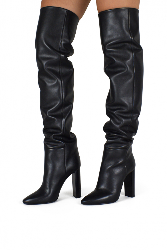 Women's luxury thigh-high boots - Saint Laurent model 76 thigh-high boots in black leather
