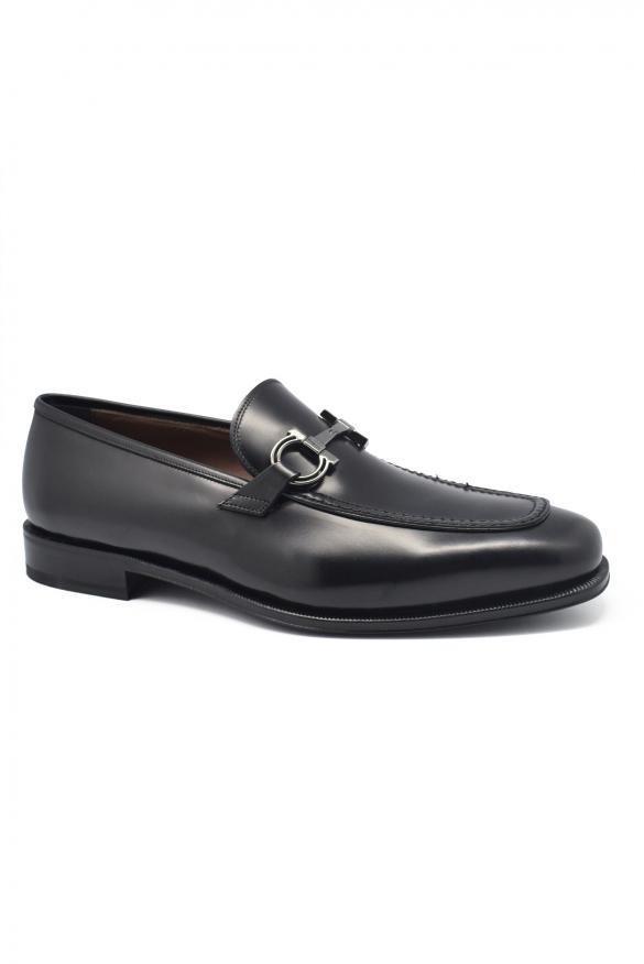 Men's luxury moccasins - Salvatore Ferragamo Gancini model moccasins in black leather