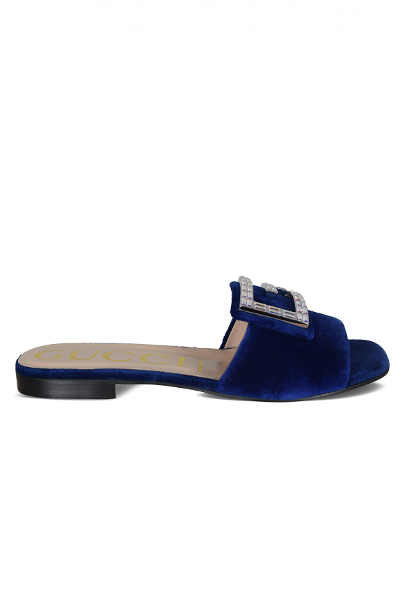 Women's luxury sandals - Gucci blue velvet sandals with logo