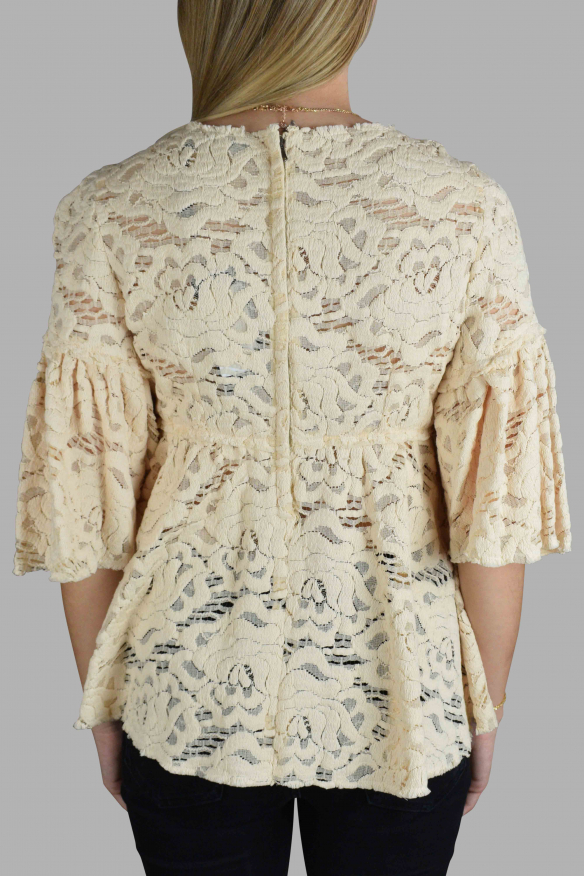 Luxury top for women - Dolce & Gabbana top in pastel yellow embroidery