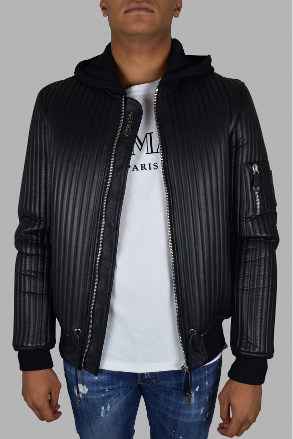 Men's luxury jacket - Philipp Plein hooded bomber in black leather