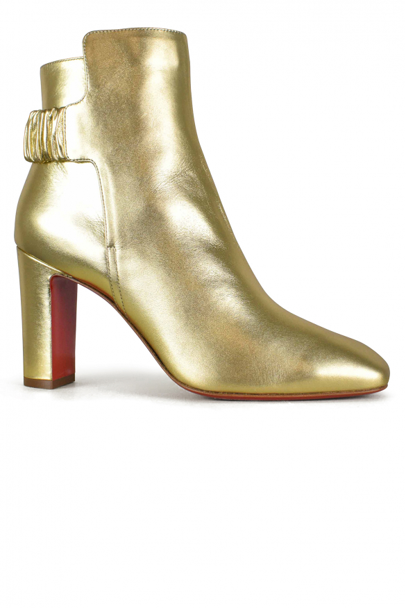 Women's luxury boots - Ecuyera Louboutin ankle boots in golden leather