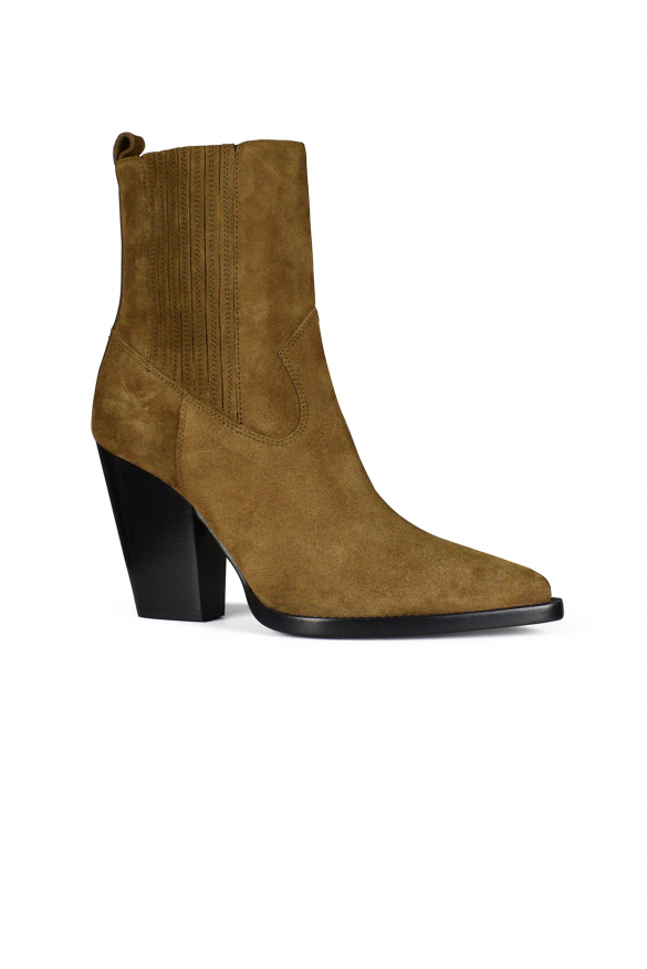 Women's luxury ankle boots - Saint Laurent Theo Chelsea boots in camel suede