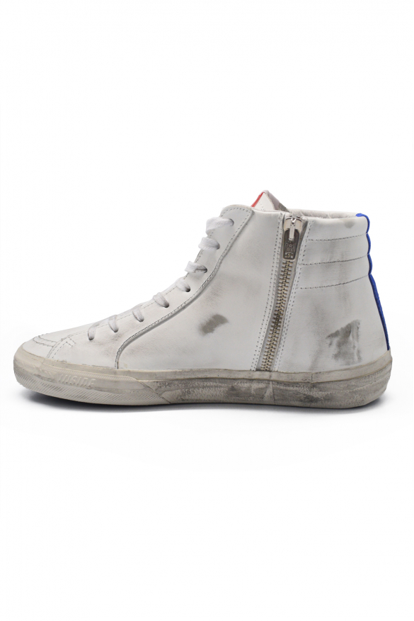 Men's luxury sneakers - Golden Goose Deluxe Brand sneakers in white and blue Slide model