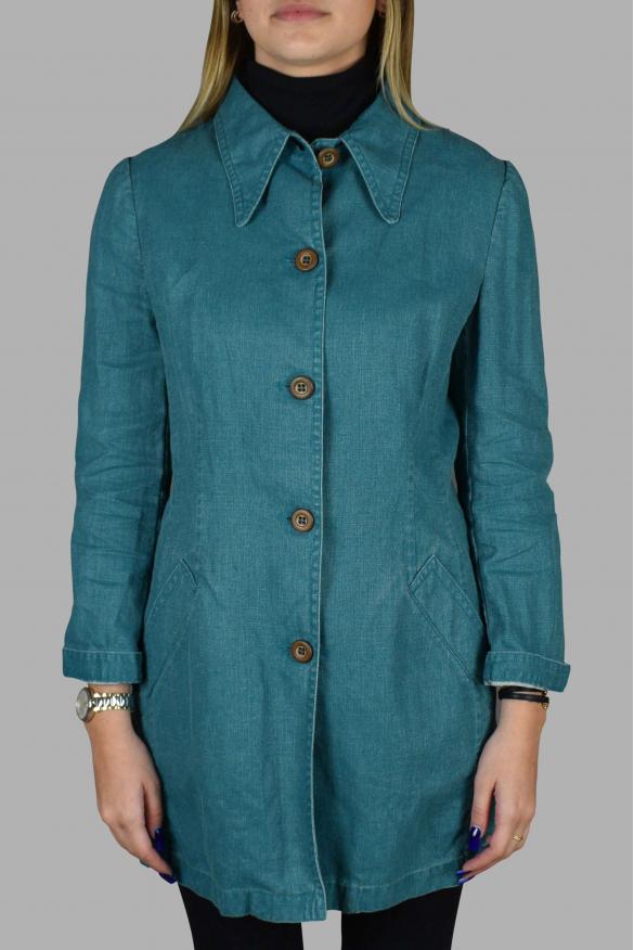 Women's luxury jacket - Prada turquoise linen long jacket with belt