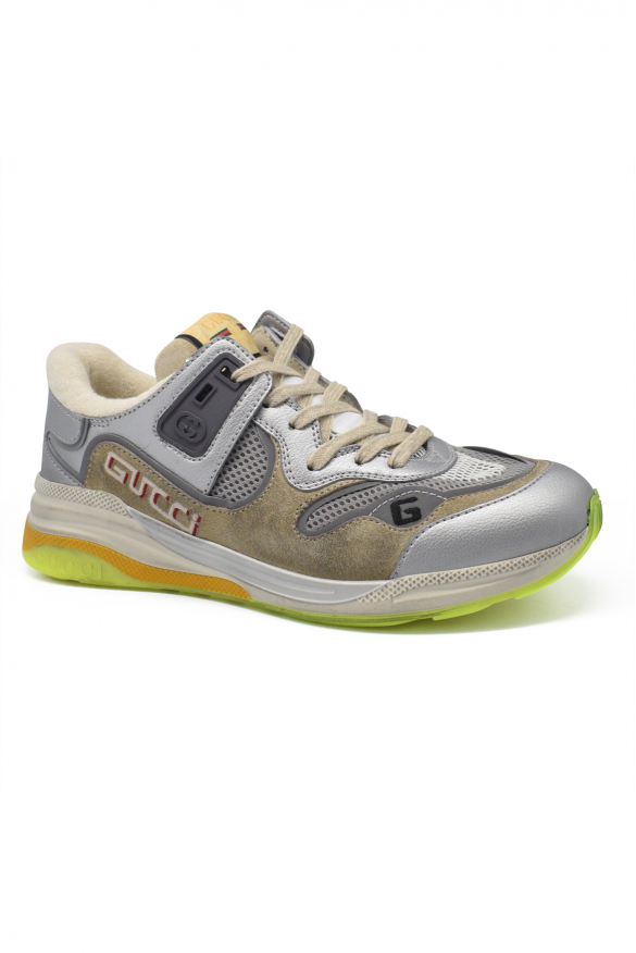 Men's luxury sneakers - Gucci sneakers model Ultrapace beige and silver