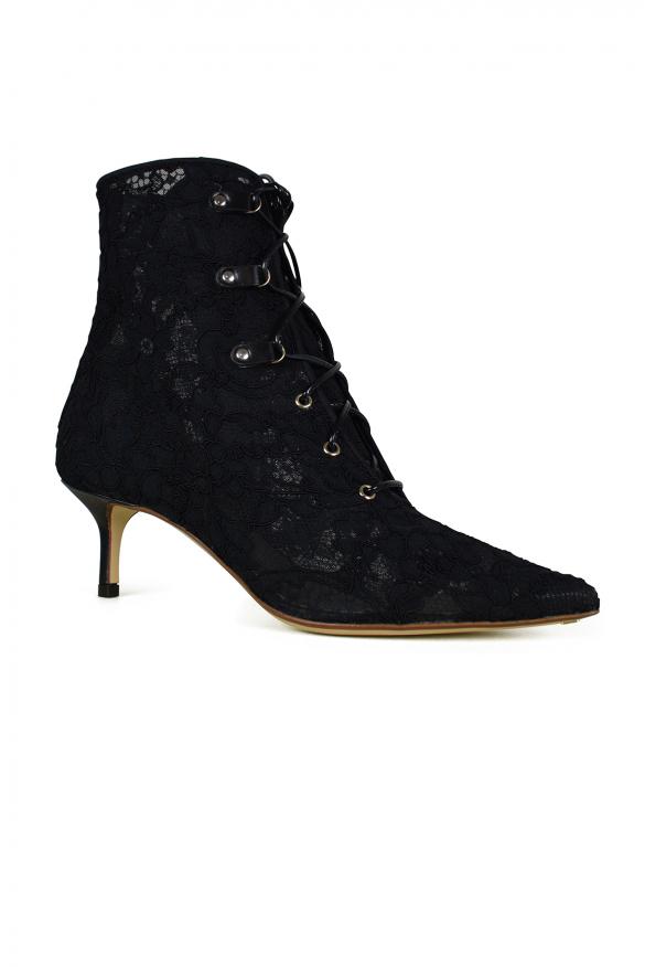 Women's luxury shoes - Black lace Francesco Russo boots.