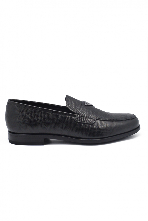 Men's luxury moccasins - Prada black calfskin moccasins