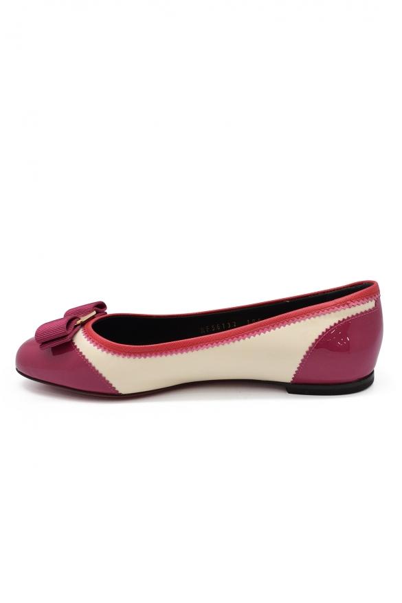 Women's shoes - Salvatore Ferragamo Varina ballerinas pink and cream leather