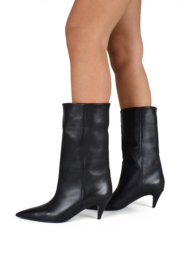 Women's luxury ankle boots - Saint Laurent charlotte model ankle boots in black leather
