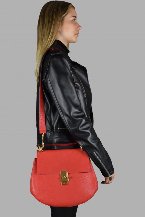 Luxury handbag - Large Drew Chloé red leather shoulder bag