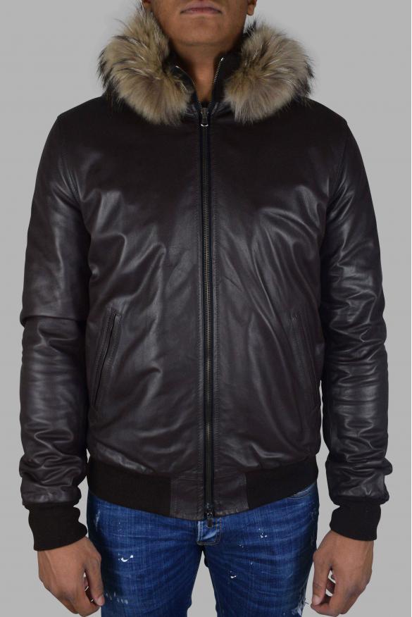 Men's luxury jacket - Philipp Plein jacket in brown leather with fur