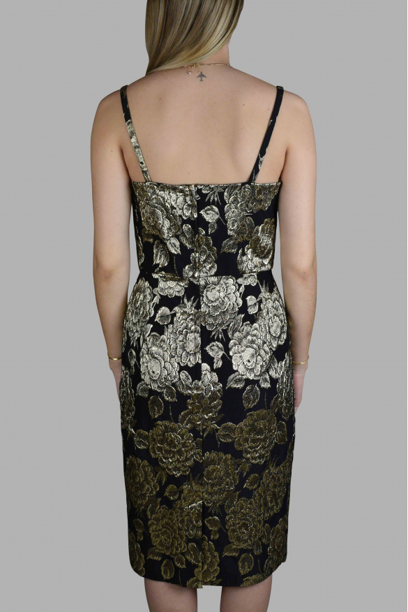 Luxury dress for women - Dolce & Gabbana black strappy dress with gold details