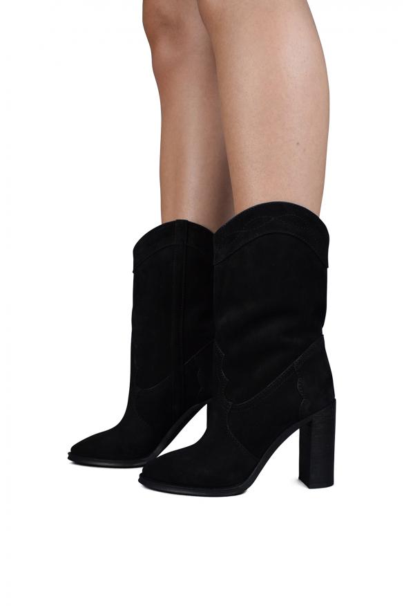 Women's luxury boots - Saint Laurent model Kate boots in black suede