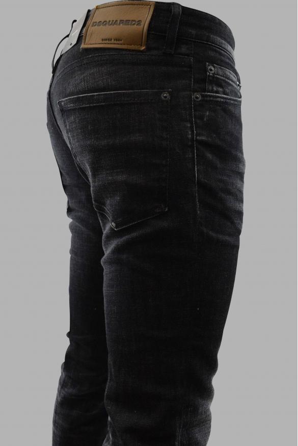 Men's designer jeans - Dsquared2 black faded Slim Jean