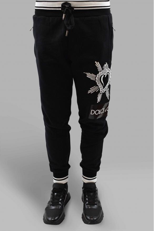 Men's designer jogging - Black jogging with embroidery and heat-sealed logo