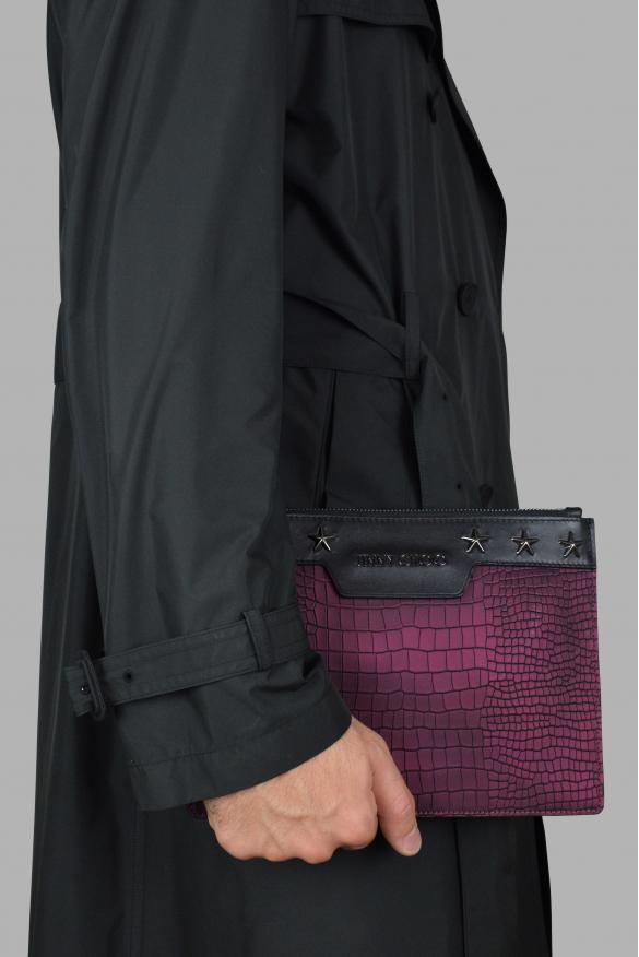 Luxury bags for men - Jimmy Choo Derek in burgundy stamped leather